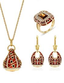 Fashion Gold Color Square Shape Decorated Jewelry Set (4 Pcs )