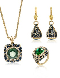Fashion Gold Color Square Shape Decorated Jewelry Set (4 Pcs )