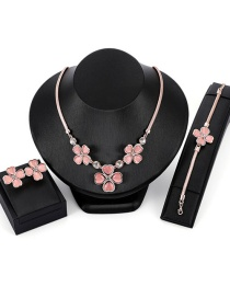 Fashion Gold Color+pink Flower Shape Decorated Jewelry Set( 4 Pcs )