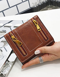Fashion Brown Zipper Decorated Wallet
