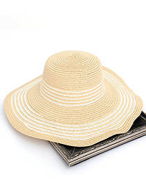 Fashion Beige Stripe Pattern Decorated Hat