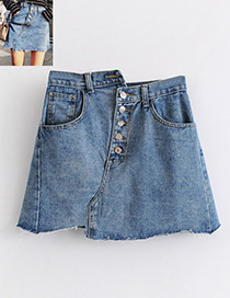 Fashion Blue Button Decorated Skirt
