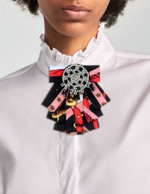 Fashion Black Bead Decorated Bowknot Brooch