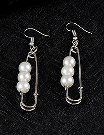 Fashion Silver Color Pin Shape Decorated Earrings