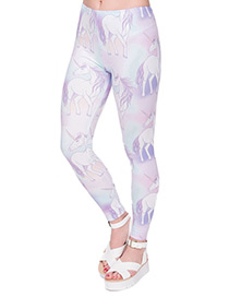 Fashion Multi-color Unicorn Pattern Decorated Trousers