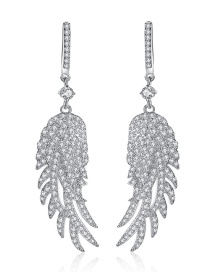 Fashion Silver Color Feather Shape Decorated Earrings