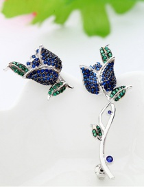 Fashion Blue Feather Shape Decorated Earrings