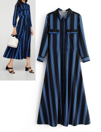 Fashion Black+blue Stripe Pattern Decorated Dress