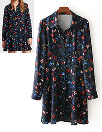 Fashion Navy Flower Pattern Decorated Dress