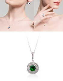 Fashion Green Full Diamond Decorated Long Necklace