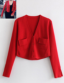 Vintage Red Pure Color Design Long Sleeves Coat