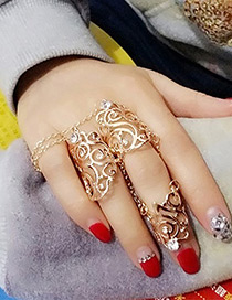 Fashion Gold Color Pure Color Design Hollow Out Ring