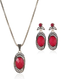 Fashion Red Oval Shape Decorated Jewelry Set