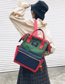 Fashion Blue+green Zipper Decorated Backpack