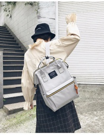 Fashion Gray Zipper Decorated Backpack