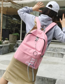 Fashion Pink Circular Ring Decorated Backpack