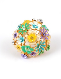 Fashion Blue Flowers Shape Design Simple Ring