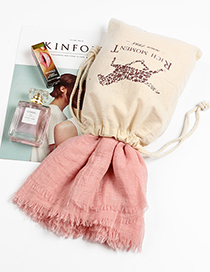 Fashion Pink Tassel Decorated Pure Color Scarf(with Bag)