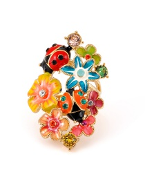 Fashion Multi-color Flower&ladybug Shape Design Ring