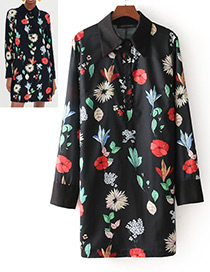 Fashion Black Leaf&flowers Decorated Long Sleeves Dress