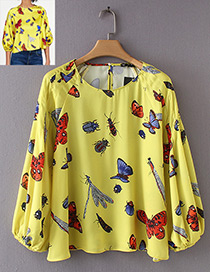 Fashion Yellow Insect Shape Pattern Decorated Blouse