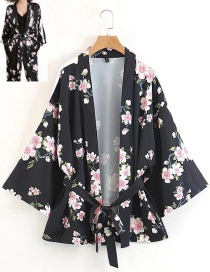 Fashion Black Flower Pattern Decorated Kimono