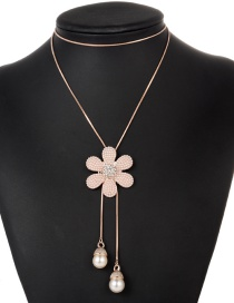 Fashion Rose Gold Pearls&flower Decorated Necklace