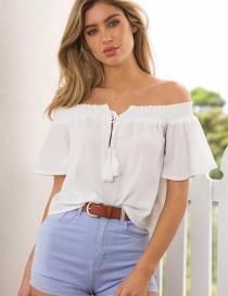 Fashion White Tassel Decorated Pure Color Blouse