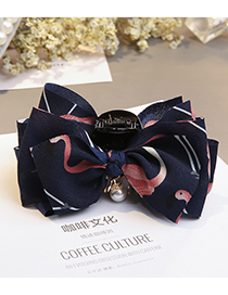 Fashion Navy Flower Pattern Decorated Bowknot Hairclip