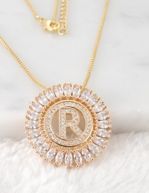 Fashion Gold Color R Letter Shape Decorated Necklace