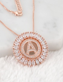 Fashion Rose Gold A Letter Shape Decorated Necklace