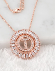 Fashion Rose Gold T Letter Shape Decorated Necklace