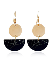 Fashion Black Semicircle Shape Design Earrings