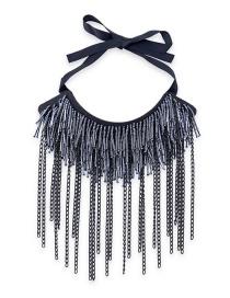 Fashion Dark Gray Pure Color Decorated Tassel Necklace