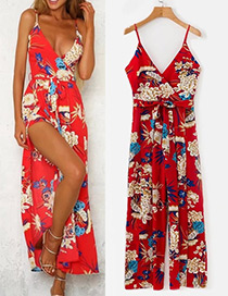 Fashion Red Flower Pattern Decorated Jumpsuit