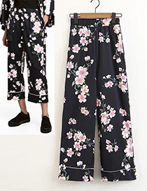 Fashion Black Flower Pattern Decorated Trousers