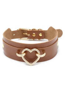 Fashion Brown Heart Shape Decorated Choker