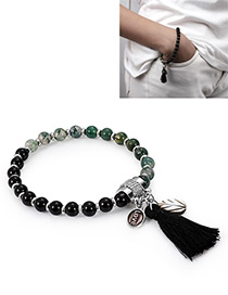 Fashion Black+green Tassel Decorated Bracelet