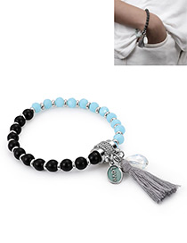 Fashion Black+blue Tassel Decorated Bracelet
