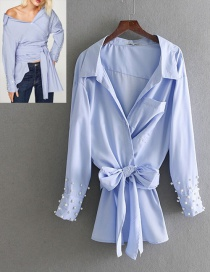 Fashion Blue Pure Color Decorated Shirt