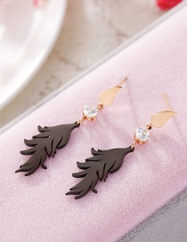 Fashion Rose Gold+black Feather Pattern Decorated Earrings