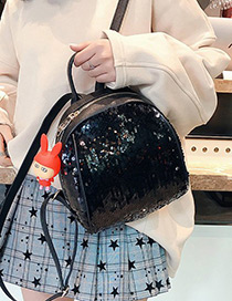 Fashion Black Pure Color Decorated Backpack (without Rabbit Accessories)