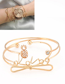 Fashion Gold Color Bowknot Shape Decorated Bracelet (3pcs )