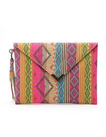 Fashion Plum Red Stripe Pattern Decorated Handbag