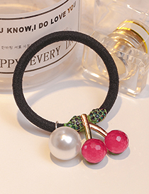 Fashion Plum Red+white Cherry Shape Decorated Hair Band