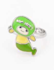 Fashion Green Doll Shape Decorated Ring