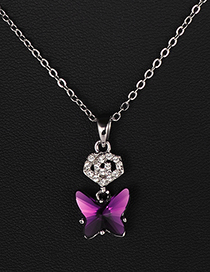 Fashion Plum Red Butterfly Shape Design Necklace