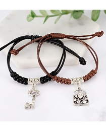 Fashion Black+coffee Key Shape Decorated Bracelet (2 Pcs )