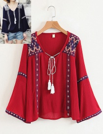Fashion Red Tassel Decorated Shirt