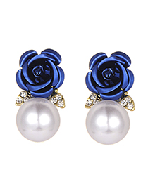 Fashion Navy Pearls&flower Decorated Earrings